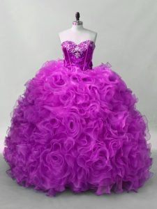 Gorgeous Organza and Fabric With Rolling Flowers Sleeveless Floor Length Sweet 16 Dresses and Sequins
