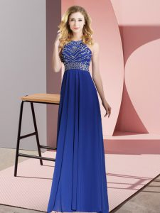Scoop Sleeveless Backless Womens Evening Dresses Royal Blue Chiffon