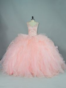 Peach Quinceanera Gowns V-neck Sleeveless Lace Up