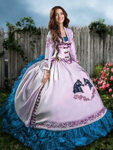 Floor Length Blue And White Sweet 16 Dresses Sweetheart Sleeveless Lace Up