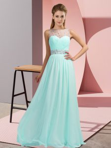 Custom Designed Chiffon Sleeveless Floor Length Evening Gowns and Beading