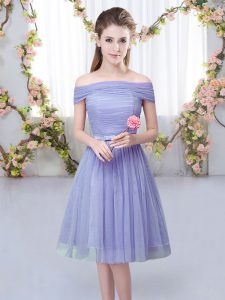 Tulle Short Sleeves Knee Length Quinceanera Dama Dress and Belt