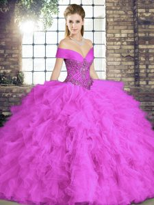Trendy Sleeveless Lace Up Floor Length Beading and Ruffles Quinceanera Dresses
