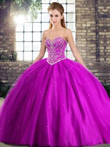 Flare Purple Tulle Lace Up Sweetheart Sleeveless Quince Ball Gowns Brush Train Beading