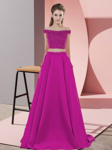 Traditional Fuchsia Homecoming Dress Prom and Party with Beading Off The Shoulder Sleeveless Sweep Train Backless