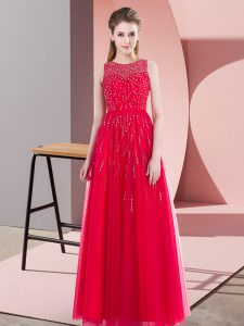 Coral Red Sleeveless Beading Floor Length Pageant Dress Womens