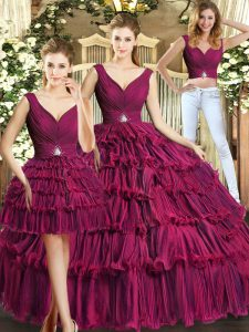 Flare Sleeveless Backless Floor Length Ruffled Layers Sweet 16 Quinceanera Dress