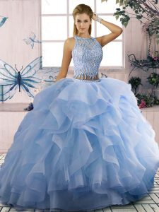 Low Price Scoop Sleeveless Tulle Sweet 16 Dress Beading and Ruffles Zipper