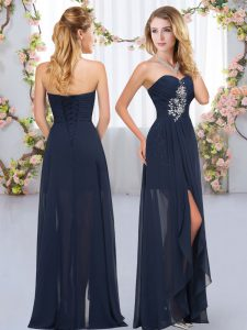 Enchanting Sleeveless Floor Length Beading and Ruffles Lace Up Dama Dress with Navy Blue