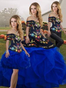 Floor Length Royal Blue 15 Quinceanera Dress Tulle Sleeveless Embroidery and Ruffles