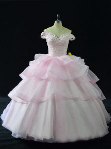 Beading and Ruffled Layers 15 Quinceanera Dress Pink Lace Up Sleeveless Brush Train