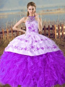Purple Halter Top Lace Up Embroidery and Ruffles Ball Gown Prom Dress Court Train Sleeveless