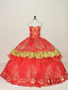 Fantastic Sweetheart Sleeveless Lace Up Quinceanera Dresses Red Satin