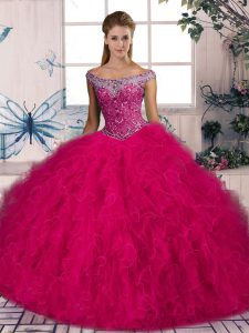 Glittering Tulle Sleeveless Quinceanera Gowns Brush Train and Beading and Ruffles