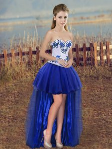 Artistic A-line Celebrity Style Dress Royal Blue Sweetheart Tulle Sleeveless High Low Lace Up