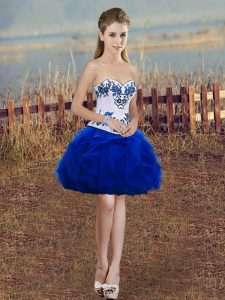 Luxury Royal Blue Lace Up Sweetheart Embroidery and Ruffles Tulle Sleeveless