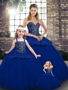 Royal Blue Ball Gowns Sweetheart Sleeveless Tulle Floor Length Lace Up Beading and Appliques Sweet 16 Dress