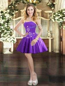 Purple Tulle Lace Up Strapless Sleeveless Mini Length Prom Party Dress Beading and Appliques