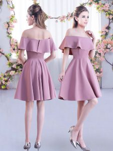 Mini Length Zipper Dama Dress for Quinceanera Pink for Wedding Party with Ruching