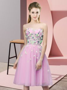 Knee Length Empire Sleeveless Rose Pink Court Dresses for Sweet 16 Lace Up