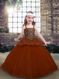 Perfect Rust Red Lace Up Pageant Dress for Teens Beading and Lace Sleeveless Floor Length
