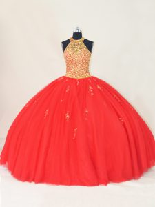 Red Quinceanera Gown Sweet 16 and Quinceanera with Beading and Appliques Halter Top Sleeveless Lace Up