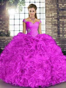 Modern Lilac Quinceanera Dresses Military Ball and Sweet 16 and Quinceanera with Beading and Ruffles Off The Shoulder Sleeveless Lace Up
