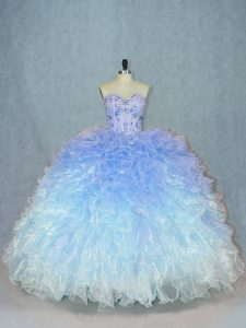 Fantastic Multi-color Lace Up Sweetheart Beading and Ruffles Quinceanera Gown Organza Sleeveless