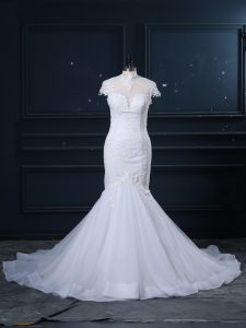 Spectacular Cap Sleeves Court Train Clasp Handle Lace Bridal Gown