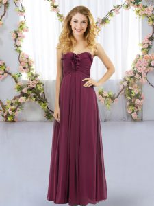 Graceful Chiffon Sleeveless Floor Length Court Dresses for Sweet 16 and Ruffles