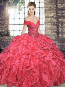 Lovely Coral Red Off The Shoulder Neckline Beading and Ruffles Sweet 16 Dress Sleeveless Lace Up