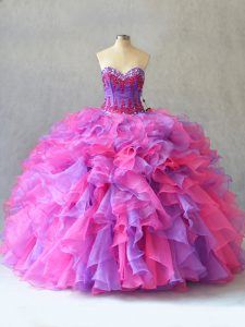 Cute Ball Gowns Sweet 16 Dresses Multi-color Sweetheart Organza Sleeveless Lace Up