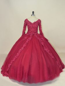Custom Design Long Sleeves Lace Up Floor Length Lace and Appliques Vestidos de Quinceanera
