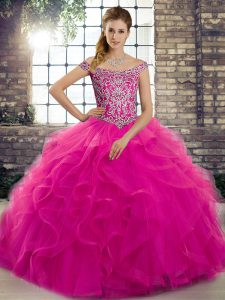Off The Shoulder Sleeveless Brush Train Lace Up Quinceanera Dresses Fuchsia Tulle
