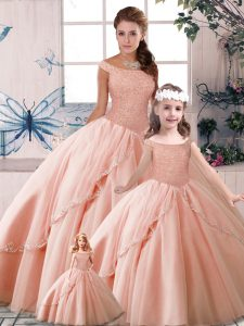 Simple Peach Off The Shoulder Neckline Beading Quinceanera Gown Sleeveless Lace Up