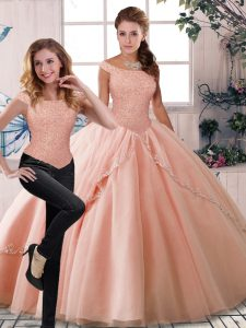 Best Two Pieces Sleeveless Peach Quinceanera Gown Brush Train Lace Up