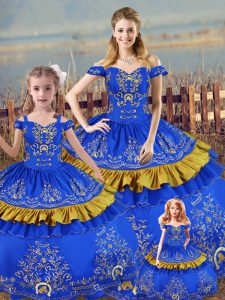 Custom Designed Blue Off The Shoulder Lace Up Embroidery Quinceanera Gown Sleeveless