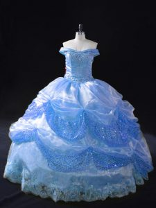 Blue Sleeveless Organza Lace Up Quince Ball Gowns for Sweet 16 and Quinceanera