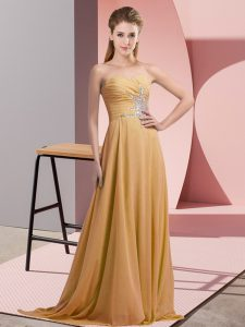 Glorious Gold Dress for Prom Prom and Party and Military Ball with Beading Sweetheart Sleeveless Lace Up