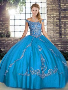 Pretty Blue Tulle Lace Up Off The Shoulder Sleeveless Floor Length Vestidos de Quinceanera Beading and Embroidery