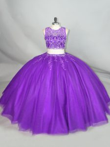Delicate Purple Sleeveless Beading Zipper Quinceanera Gowns