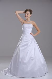 Taffeta Strapless Sleeveless Brush Train Lace Up Beading Wedding Gown in White