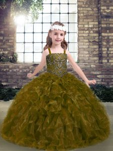 Unique Sleeveless Organza Floor Length Lace Up Pageant Dress for Teens in Olive Green with Beading and Ruffles