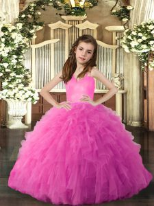 Hot Pink Straps Lace Up Ruffles Pageant Dresses Sleeveless