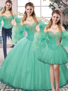 Exquisite Sleeveless Tulle Floor Length Lace Up Quince Ball Gowns in Turquoise with Beading