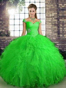 Green Quinceanera Dresses Sweet 16 and Quinceanera with Beading and Ruffles Off The Shoulder Sleeveless Lace Up
