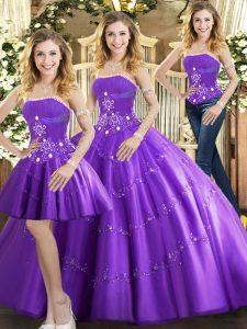 Purple Ball Gowns Strapless Sleeveless Tulle Floor Length Lace Up Beading Sweet 16 Dresses