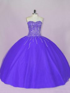 Fantastic Sweetheart Sleeveless Lace Up 15 Quinceanera Dress Blue and Purple Tulle