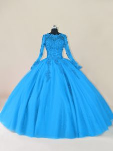 Blue Tulle Zipper Scalloped Long Sleeves Floor Length Quinceanera Dresses Lace and Appliques