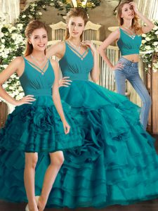 Floor Length Teal Quince Ball Gowns V-neck Sleeveless Backless